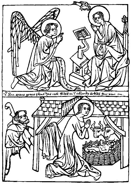 Woodcut Annunciation & Nativity